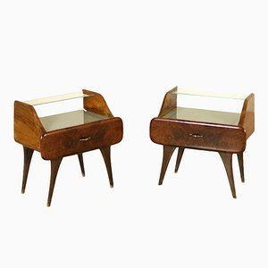 Italian Walnut Veneer & Glass Nightstands, 1950s, Set of 2