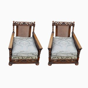 Carved Oak Armchairs with Double Cane, 1920s, Set of 2