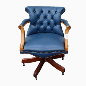 Blue Button Leather Swivel Chair, 1960s