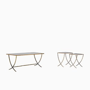 Bronze Coffee Table & Nesting Tables from Maison Baguès, 1959
