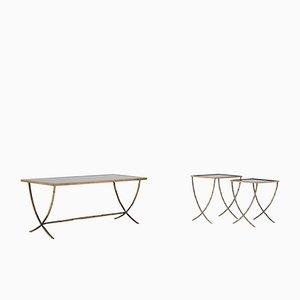 Table Basse et Tables Gigognes en Bronze de Maison Baguès, 1959