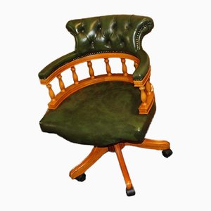 Green Leather Button Swivel Chair in Walnut, 1960s
