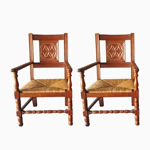 Large Walnut Carved Armchairs with Rush Seats, 1940s, Set of 2