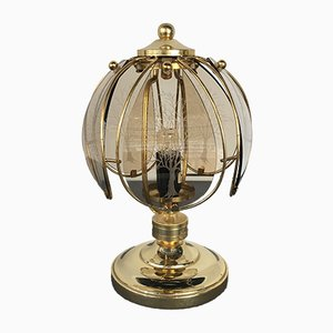 Mid-Century Brass & Etched Glass Table Lamp from Wortmann & Filz, 1950s