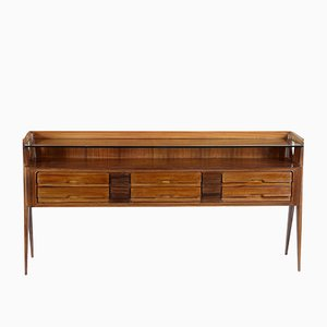 Mid-Century Rosewood & Mahognany Console with Glass Shelf from Vittorio Dassi, 1950s
