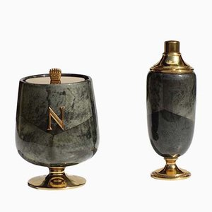 Mid-Century Italian Lacquered Goatskin Ice Bucket and Shaker by Aldo Tura