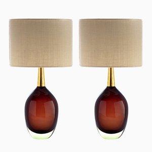 Sommerso Murano Glas Tischlampen von Seguso Vetri d'Arte, 1955, 2er Set