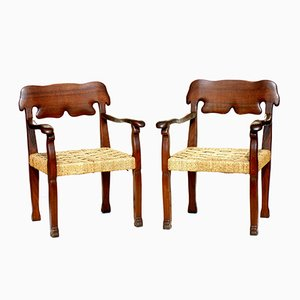 Italian Wood & Rope Chairs, 1940s, Set of 2