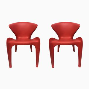 Red Calla Chairs by William Sawaya for Heller, 2002, Set of 2