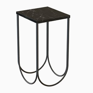 OTTO Side Table in Black with Black Marble Top by Alex Baser for MIIST