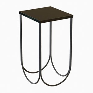 OTTO Side Table in Powder-Coated Steel & Black Glass by Alex Baser for MIIST