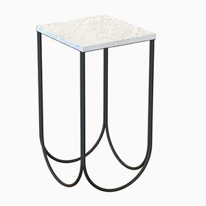 OTTO Side Table in Black with White Marble Top by Alex Baser for MIIST