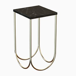 OTTO Brass-Plated Side Table with Black Marble Top by Alex Baser for MIIST
