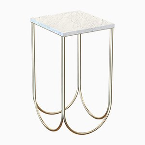 OTTO Brass-Plated Side Table with White Marble Top by Alex Baser for MIIST