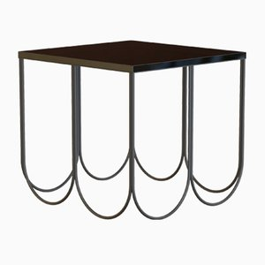OTTO Coffee Table Small in Powder-Coated Steel & Black Glass by Alex Baser for MIIST