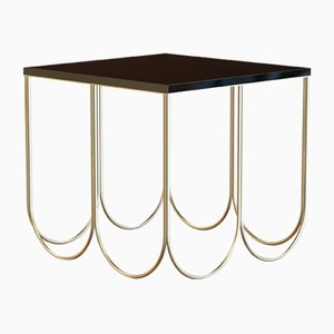 OTTO Coffee Table Small in Brass-Plated Steel & Black Glass by Alex Baser for MIIST