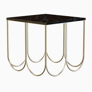 Petite Table Basse OTTO en Laiton Plaqué avec Plateau en Marbre Noir par Alex Baser pour MIIST