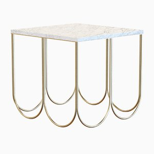 Table Basse OTTO en Laiton Plaqué avec Plateau en Marbre Blanc par Alex Baser pour MIIST