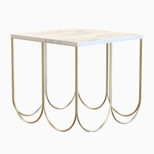 OTTO Coffee Table Small in Brass-Plated Steel & Carrara Marble by Alex Baser for MIIST