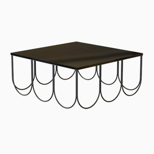 OTTO Coffee Table in Powder-Coated Steel & Black Glass by Alex Baser for MIIST