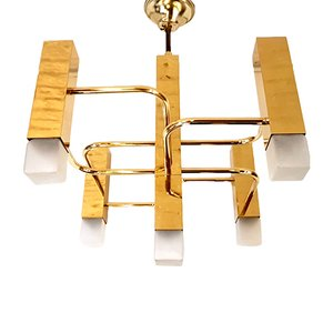 Vintage Italian Gilt Brass Chandelier by Gaetano Sciolari, 1980s