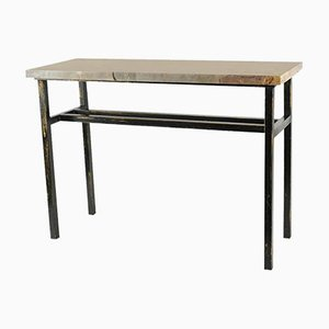 Painted Steel & Marble Console Table, 1980s
