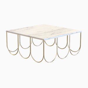 OTTO Coffee Table in Brass-Plated Steel & White Carrara Marble by Alex Baser for MIIST