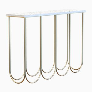 OTTO Brass-Plated Console with White Marble Top by Alex Baser for MIIST