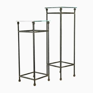 Wrought Iron & Glass Console Tables, 1980s, Set of 2