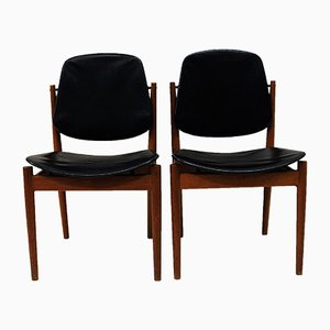 Danish Teak & Black Leather Dining Chairs by Arne Vodder for France & Søn, 1950s, Set of 2