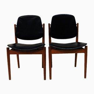 Sedie da pranzo in teak e pelle nera di France & Son, Danimarca, anni '50, set di 2