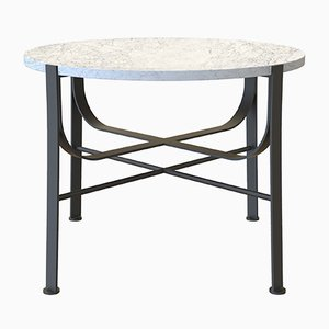 Mesa de centro MERGE pequeña de acero recubierto de pintura en polvo y mármol de Carrara de Alex Baser para MIIST