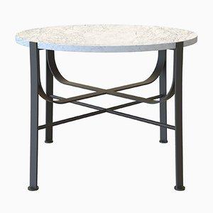 Petite Table Basse MERGE en Acier Laqué et Marbre de Carrare par Alex Baser pour MIIST