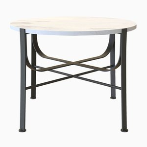 MERGE Coffee Table Small in Powder-Coated Steel & Carrara Marble by Alex Baser for MIIST
