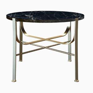 Tavolino da caffè MERGE placcato in ottone con ripiano in marmo nero di Alex Baser per MIIST