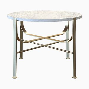 Table Basse MERGE en Laiton Plaqué et Plateau en Marbre Blanc par Alex Baser pour MIIST