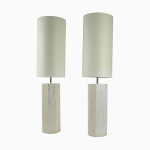 Travertine Table Lamps, 1940s, Set of 2