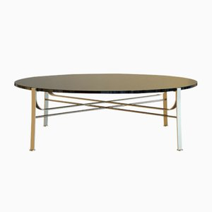 MERGE Coffee Table in Brass-Plated Steel & Black Glass by Alex Baser for MIIST