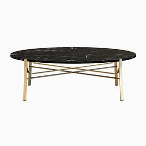 MERGE Brass-Plated Coffee Table with Black Marble Top by Alex Baser for MIIST