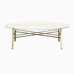 Table Basse MERGE en Laiton Plaqué avec Plateau en Marbre Blanc par Alex Baser pour MIIST
