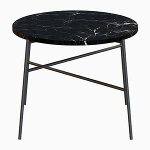 Table Basse HIGE Noire avec Plateau en Marbre Noir par Alex Baser pour MIIST