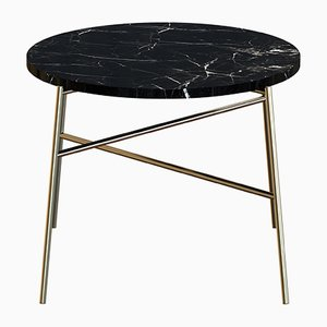 HIGE Brass-Plated Coffee Table with Black Marble Top by Alex Baser for MIIST