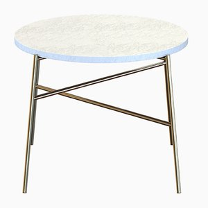 HIGE Brass-Plated Coffee Table with White Marble Top by Alex Baser for MIIST