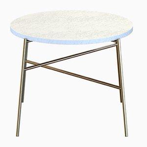 Table Basse HIGE en Laiton Plaqué avec Plateau en Marbre Blanc par Alex Baser pour MIIST