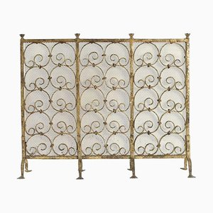 Gold Gilded Wrought Iron Fireplace Screen, 1950s