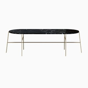 HIGE Brass-Plated Coffee Table with Black Marble by Alex Baser for MIIST