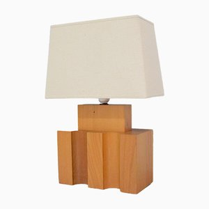 Vintage Brutalist Elm Lamp from Maison Regain