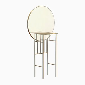 SO-NAIVE Brass-Plated Mirror Console by Alex Baser for MIIST