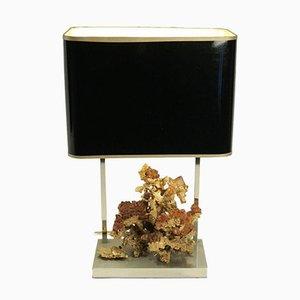 Tischlampe mit Fuß aus vergoldeter Bronze in Korallenform, 1970er