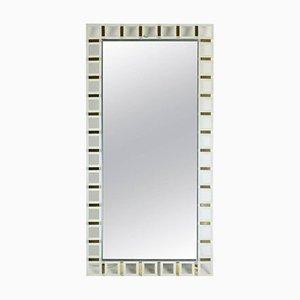 Beleuchteter rechteckiger Spiegel aus Edelstahl, Zinn & weißem Glas, 1970er